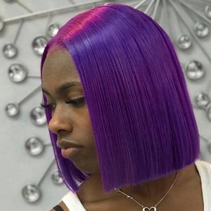 Purple Human Hair Bob Wigs Brazilian Straight Colored Human Hair Wigs Remy Short Ombre Bob Lace Front Wigs for Black Women