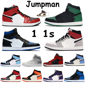 Jumpman 1 1s Баскетбол обувь Mid Токио Light Smoke Gray Бред Royal Gold Chicago Toe Obisidian Pine Green Court Фиолетовый Белый Мужские кроссовки