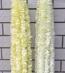 White Artificial Orchid Wisteria Vine Flower 2 Meter Long Silk Wreaths For Wedding Backdrop Decoration Shooting Props 30pcs lot