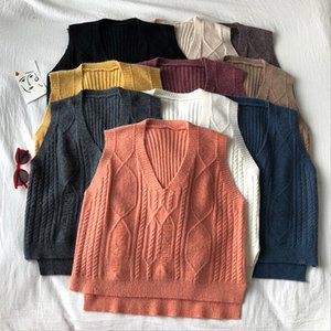 Women's Vests Sleeveless Solid Color V-neck Knitted Sweater Vest Women Fashion Twist Loose Stitching Side Split Female