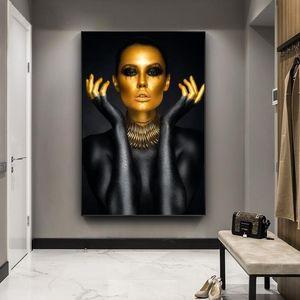 Nu femme sexy Portrait Paintings toile sur les affiches mur d'art et tirages noir d'or fille Photos Accueil décorations Cuadro