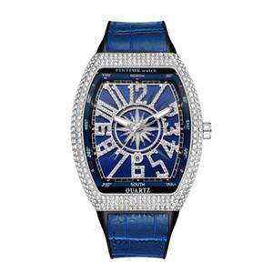 PINTIME Hombres del reloj de manera Shinning diamante hacia fuera helado Relojes cuarzo del acero inoxidable Movimiento Casual Male veinticuatro horas del vestido del reloj de Montre