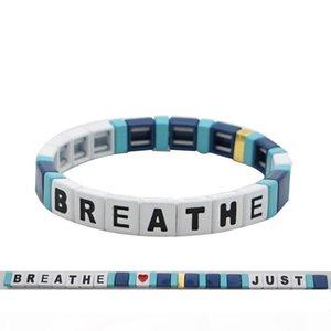 O Diy String Simple Breathe Bracelet Handmade Alphabet Breathe Acrylic Bead Bangle Bracelet Gifts I Can &#039 ;T Breathe