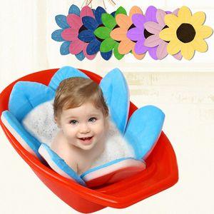 New Baby Bathtub Foldable Blooming Flower Shape Mat Soft Seat Infant Sink Shower Baby Flower Play Bath Sunflower Cushion mat e3MC#
