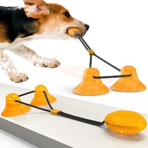 Hot venda Multifuncional Pet Molar mordida brinquedo com ventosa animais Toy Bola para cães Brinquedos mastiga Jogando Dentes Brinquedos Limpeza