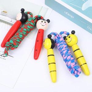 4 colores manija niños Cuerdas para saltar a manija de madera Deporte físico culturismo de la historieta encantadora Cuerdas de Saltar Madera