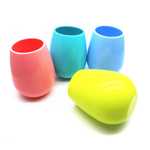 4Colors 12 Unzen Bright Side Silikon-Weinbecher Weingläser Eierbecher Rubber Squishy Cups Wasserflasche Outdoor-Bierkrüge Whiskey Trinkgefäße