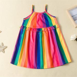 2020 Nouveau bébé Robe d'enfants Filles Robes d'été Bébés filles Designer Rainbow Dress manches bretelles jupe enfants princesse Jupes LY716