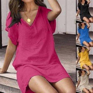 Desinger Kısa Kollu Casual A Hattı Elbiseler Kadın Seksi Katı Renk Elbise Patchwork Gömlek Elbise V Yaka Kadın
