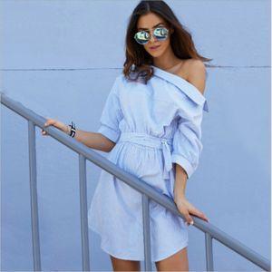 Women Fashion Blue Striped Shirt Skirt Sexy Elegant Half Sleeve Belt Casual Skirt