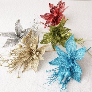 Christmas Glitter Artificial Flower Stems Pendant For Xmas Tree Christmas Wreath Ornaments Wedding Party Happy New Year Gift