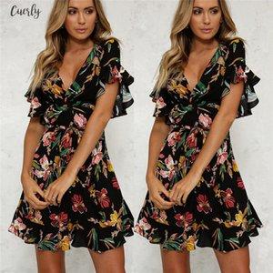 New Fashion Womens Boho V Neck Short Sleeve Dress Floral Printed Slim Dress Ladies Chiffon Beach Evening Party Mini Sundress Summer
