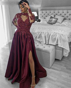 Jewel Sheer Neck Burgundy Evening Dresses Long Sleeve Arabic 2020 Appliqued Lace Prom Gowns Beaded Side Split Formal Party Dress AL6563