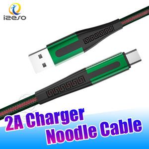 2020 Câble USB Sync récent microfiche Type C Câble plat de nouilles USB cordon de charge 3FT Nylon Tressé Chargeur pour Galaxy S20 izeso