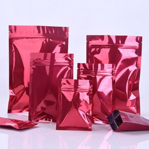 100Pcs Smooth Red Aluminum Foil Zip Lock Packaging Bag Reclosable Mylar Snack Retails Crafts Storage Packing Pouches