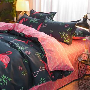 Home Textile Flamingo Multicolor Cartoon Duvet Cover Pillowcase Bed Sheet Simple Boy Girls Bedding Sets Bedclothes Bed Linen