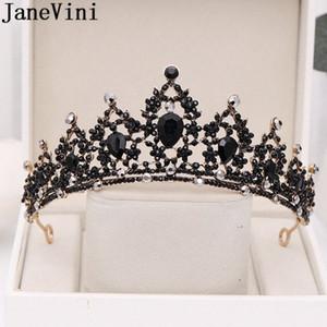 신부 투구 바로크 신부 티아라 웨딩 머리띠 헤어 액세서리 Spd7 번호 JaneVini 고딕 양식의 블랙 크리스탈 왕관 웨딩 크라운