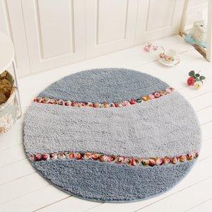 Embossed round pastoral style Carpet floor lovely bedroom carpet bathroom door mat non-slip floor mat
