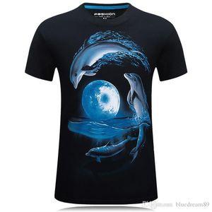 Dolphin Cotton hip hop t shirts for men Short Sleeve Sports 3d shirt men Leopard camouflage brand t-shirts mens clothing