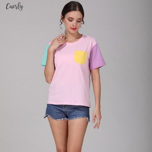 2020 New Fashion Woman Clothes Summer New Patchwork Loose Pocket Short Sleeves T Shirt Female Drop Shipping