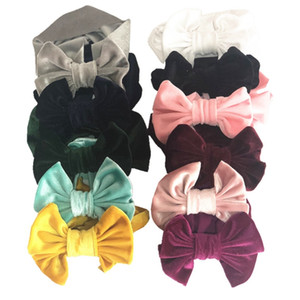 Baby Big Bow Headbands Solid Kids Princess Hairdress Golden Velvet Elastic Infant Headwrap Boutique Hair Accessories 11 Colors BT4630