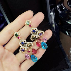 Lucky S925 Tremella Acupuncture Lady luxurious European and American Color Diamond Ear Drops Goddess Essential Earrings Party