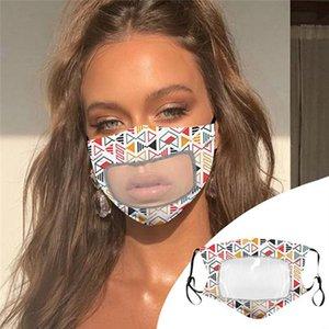 Lippen Visuable Mund Masken Sommer-Blumen Deaf Masken Wiederverwendbare Baumwolle atmungsaktive Schutzmundschutz durchsichtiger Kunststoff Patchwork Masken IIA332