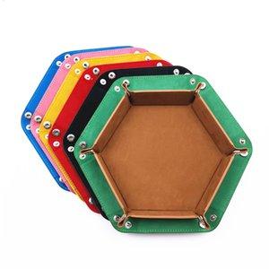 PU-Leder Velvet Folding Hexagon Dice Tray zusammenklappbarer Rolling Board Spiel Aufbewahrungsbox Startseite Sundries Lagertablett 17.5cm
