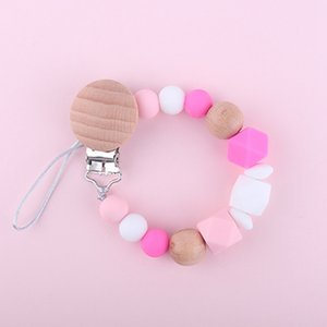 Dummy Clip Pacifier Chain Holder Wood Silicone Beads Baby Pacifier Clips Holder For Teething Soother Toys Anti-Lost Chain