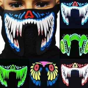41 Styles EL Mask Flash LED Music Mask With Sound Active for Dancing Riding Skating Party Voice Control Mask Party Masks dc579