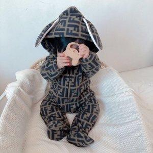 Бесплатная доставка милый зайчик руно Velvet Infant Одежда Зимняя ребёнки мальчиков Rompers Теплый новорожденный новорожденных Одежда Snow Комбинезон