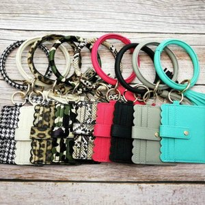 Armreif-Karten-Beutel-Mappen-Schlüsselanhänger Armband Schlüsselanhänger Leopard Handtasche Leder-Armband Keychain Kreditkartenhalter mit Quaste