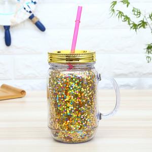 16 oz plastica Mason Jar creativo della tazza trasparente dell'isolamento termico della tazza dell'acqua 450ml Double Wall succo beve la birra Tazza con ansa MARE A09