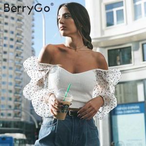 BerryGo Moda sexy do ombro camisa blusa mulheres Casual legal blusa top feminino 2020 nova primavera verão de malha