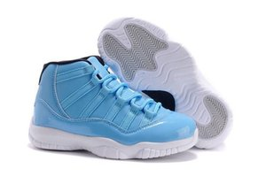 Cheap Kids PANTONE Boy & girl 11s Youth basketball shoes Flight Blue XI 11 children athletic sports boy girl sneakers size 28-35 With Box