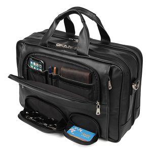 Большой емкость черного кофе натуральной кожа мужчины Сумка Сумка Бизнес Сумка 15,6 «» Laptop Briefcase Портфель M7289