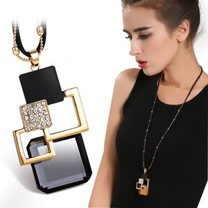 Collares De Moda 2020 Geometric Crystal Necklaces & Pendants Punk Long Chain Gold Necklace For Women Fashion Jewelry Accessories