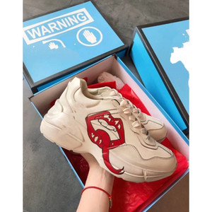 Gucci Oro Casual Shoes Classic Rhyton Vintage pelle scarpe da ginnastica di marca delle donne degli uomini dei pattini casuali del cuoio Classic White Thick Sole mjhk01
