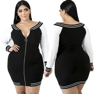Designer Shop women plus-sized short cocktail dresses and plus party dresses 4XL 5XL Long sleeve summer dresses cheap clothes front zipper