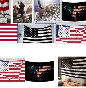 Bandera americana de gobelino Stripes USA Flag Hippie Tapices 150 * 130 cm de poliéster colgar de la pared de poliéster Tapicería de la pared playa cubre hasta KKA7972