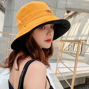 Spring and summer sun visor female double-sided letter cloth cap folding sun hat wild two-color fisherman hat circumference 58cm