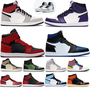 1 العليا OG منتصف شيكاغو تو ولدت عكس 1S الرجال النساء أحذية كرة السلة الرياضة منتصف دخان رمادي فاتح بالي العاج Jumpman أحذية رياضية المدربين