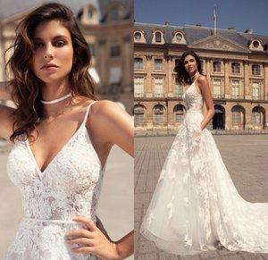 Bohemian A Line Wedding Dresses Illusion V Neck Lace Appliques Bridal Gowns Beach Boho Sleeveless Sweep Train Wedding Dress
