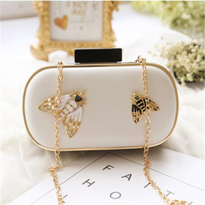 ABERA 2020 high quality women diamond bee evening bags dinner clutch wallets with chain party bags drop shipping MN459