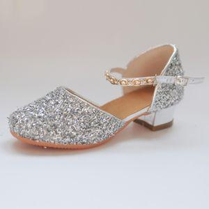 summer for girls Glitter Children Girl's Rhinestone Ballroom Latin Tango Dance Heeled shoes sandale fille9.506gg Y200619