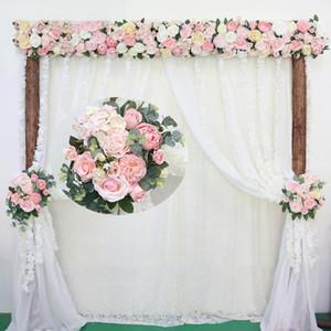 Artificial Rose Flower Row pequeno canto Flores Simulation Silk Falso flores do casamento DIY Home Decor Garland Decor Flores
