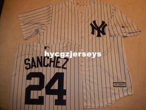 Günstige Baseball NY # 24 GARY SANCHEZ Genäht COOL BASE Shirt Jersey WHT P / S neues Mens genäht Trikots groß und hoch Größe XS-6XL Zum Verkauf
