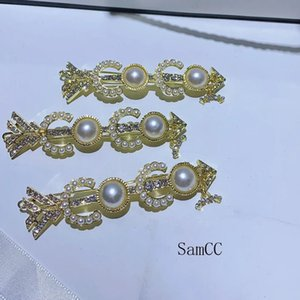 7.2*1.5CM Alloy Pearl Frog Clip Golden Fashion C Hairpin Buckle Clip Letter Hair Clip Ladies Collection Diamond Design Jewelry 4PCS LOT