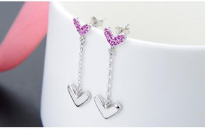 784 Top quality S925 sterling silver women's drop earrings women's silver earring cubic zirconia earring silver CZ tassle earrings DDS