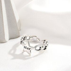 Women's ring Open silver ring Korean S925 sterling silver o chain star INS